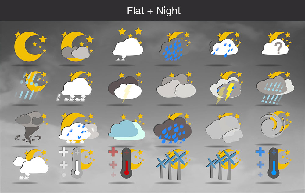 Weather icons flat night