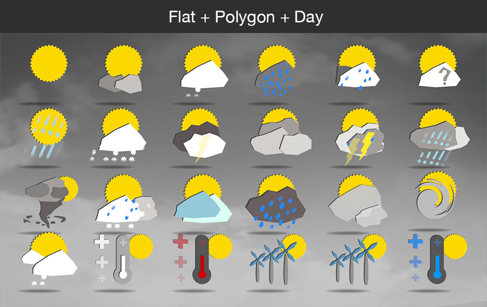 Weather icons flat polygon day