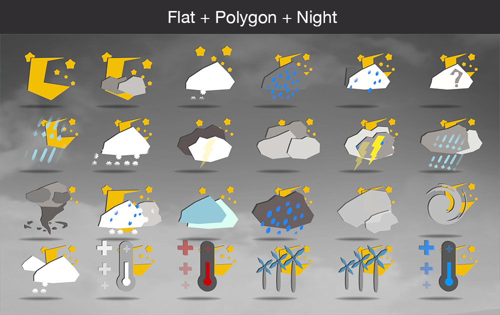 Weather icons flat polygon night