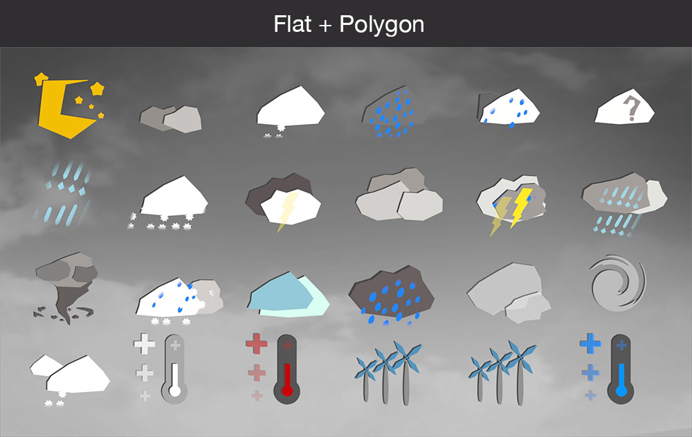 Weather icons flat polygon