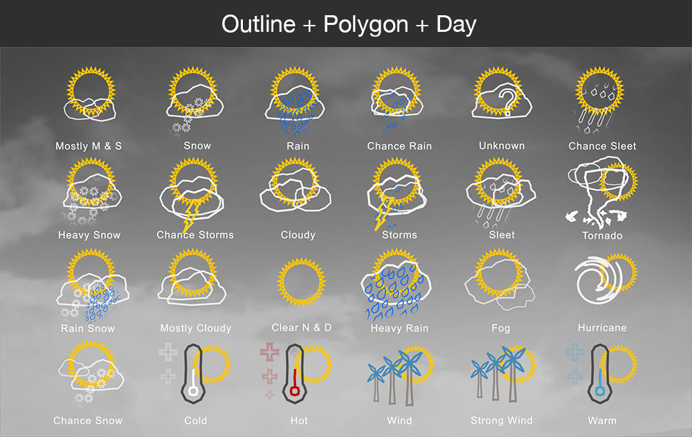 Weather icons outline polygon day