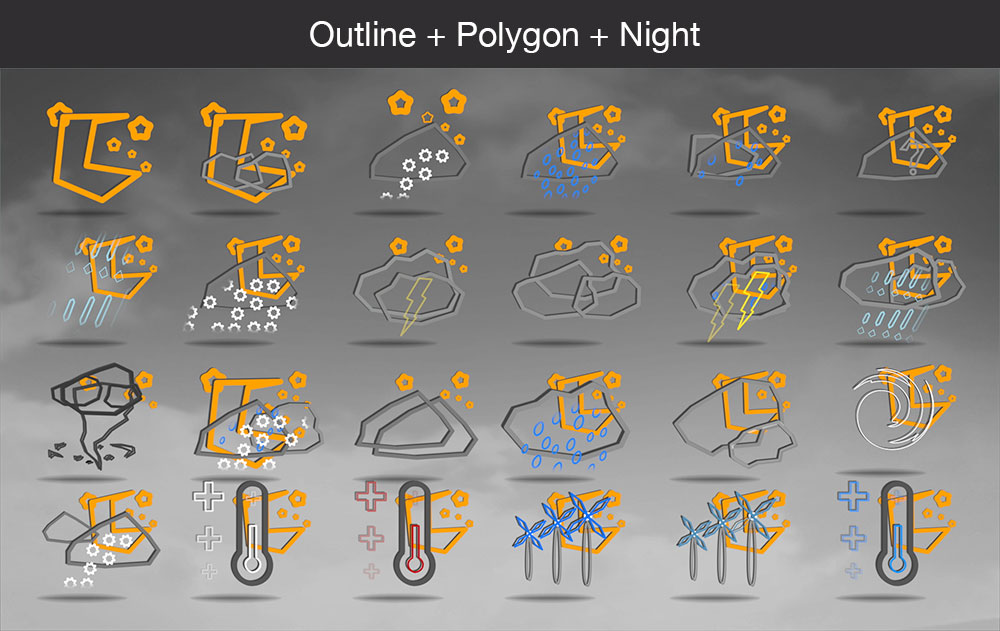 Weather icons outline polygon night