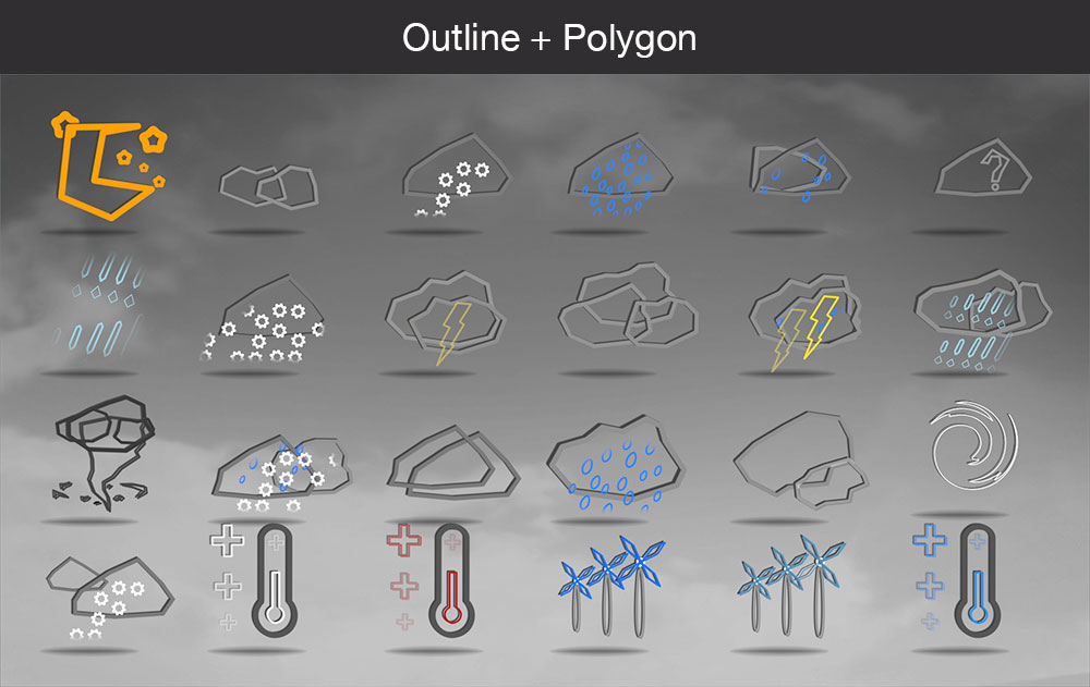 Weather icons outline polygon