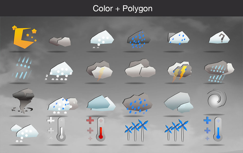 Weather icons color polygon