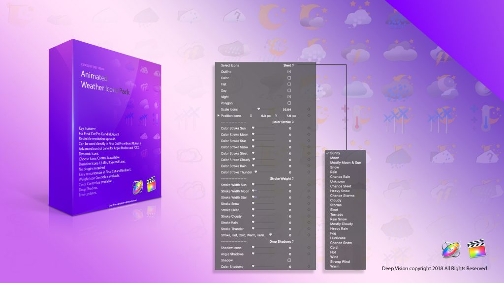 Animated weather icons pack fcpx