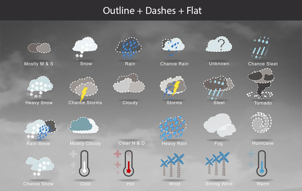 Weather icons dashes flat